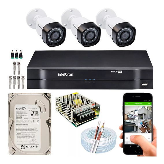 Kit Cftv 3 Câmeras Multi Hd 720p 1mp Dvr Intelbras Mhdx 1104 / Kit Monitoramento Segurança Residencial