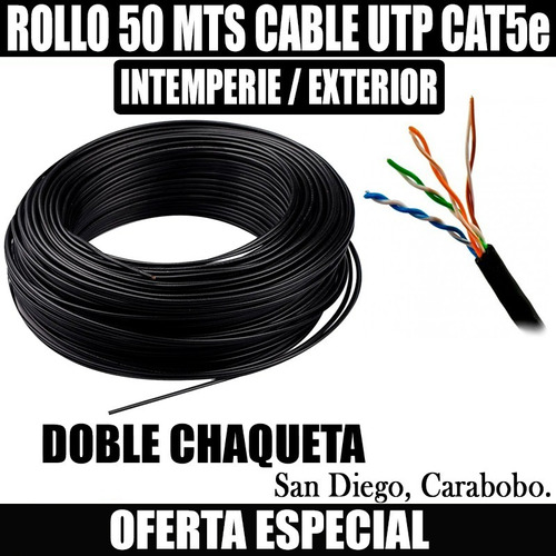 Cable Utp Cat5e 50 Metros Intemperie Outdoor
