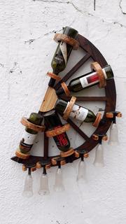 Bodega Colgante Media Rueda 5 Botellas 6 Copas