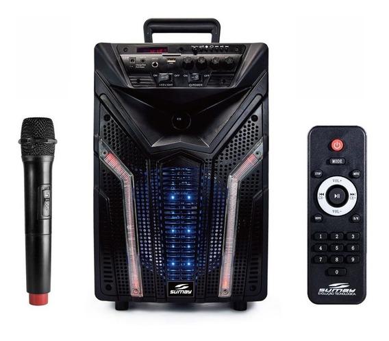 Caixa De Som Portátil Bluetooth Led Bateria Microfone S/fio