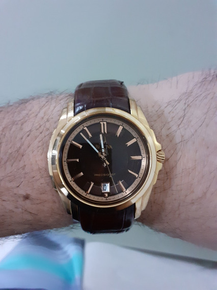 Relógio Bulova Dourado Couro Marron