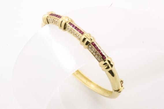 Bracelete Ouro 18k Rubi E Diamantes