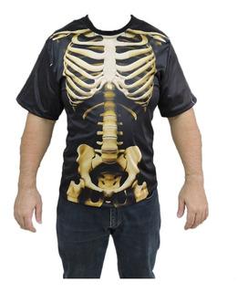 Camiseta Esqueleto Caveira Halloween Adulto Terror