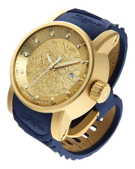 Relógio Invicta Yakuza Dragão Original 18215 Azul Banho 18k