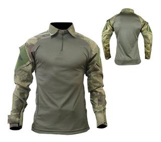 Camisa Combat T-shirt Masculina Militar Tática Atacs Airsoft