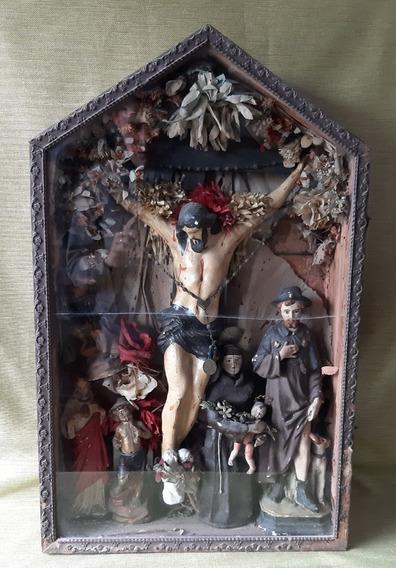 Antiguo Retablo Con Varios Santos Jesus, San Roque,