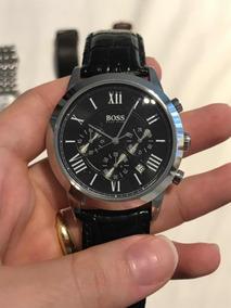 Relógio De Pulso Masculino Hugo Boss Pulseira Couro Preta