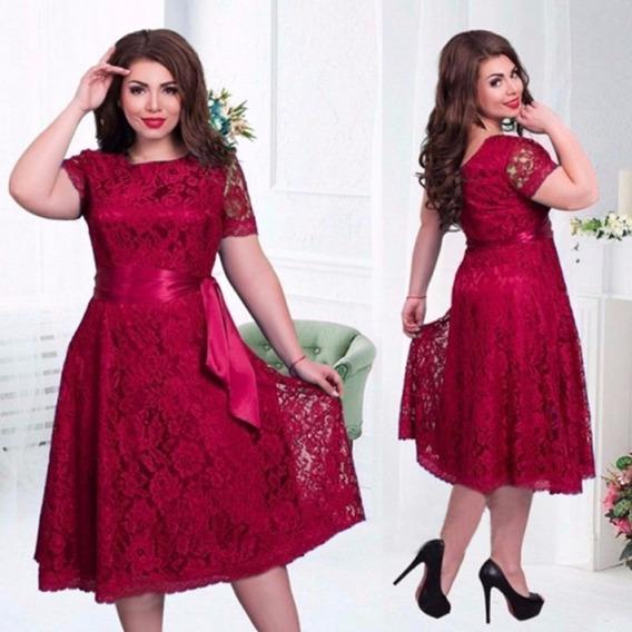 Vestido Renda Plus Size Festa Gospel /26 Vermelho Formatura
