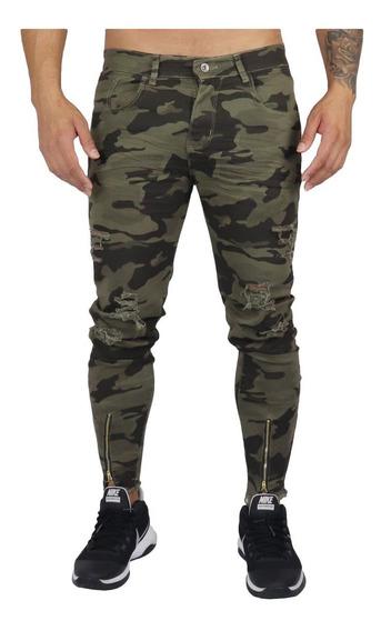 Calça Jeans Masculina Super Skinny Lycra Ziper Rasgada