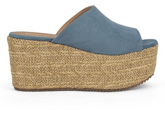 Alpargatas Zapatos Dama Plataforma Alto Azul Mezclilla 9118