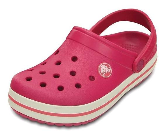 Crocs Crocband Mujer Nena Raspberry-white Originales