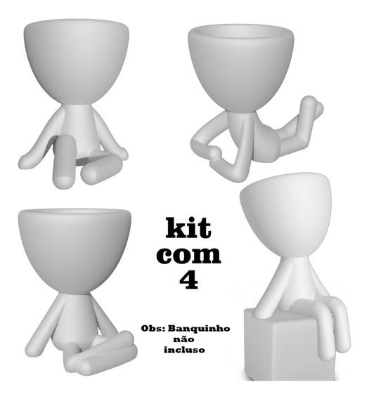 Kit 4 Vasinhos Bob - Robert Plant Para Suculenta - Bbb 20