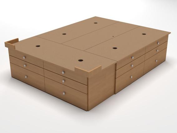 Base Sommier Box 18 Cajones 2 Dos Plazas 190x140 Somier