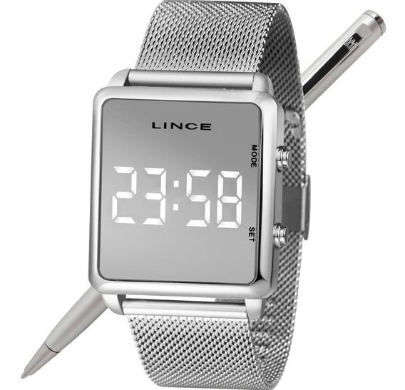 Relógio Lince Led Unissex Mdm4619l Bxsx Prateado Led Branco