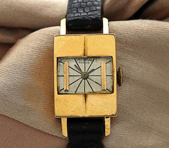 Micro Relógio De Pulso Feminino Versatil Universal Geneve Em Ouro 18k 12,8 Gramas Maquina Mecanica J22067