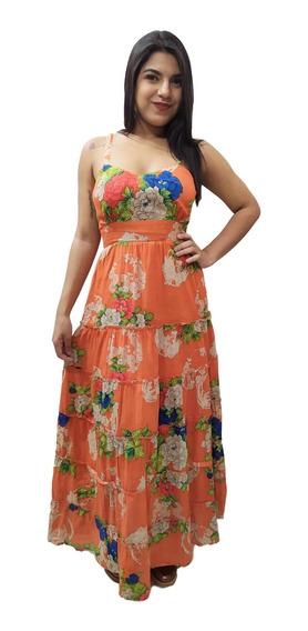 Vestido Longo Alça Floral Moda Indiana Boho Estampado 6463