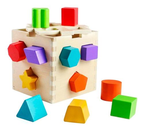 Imagen 1 de 10 de Acool Caja Inteligente Madera Figuras Encastre Ac7662