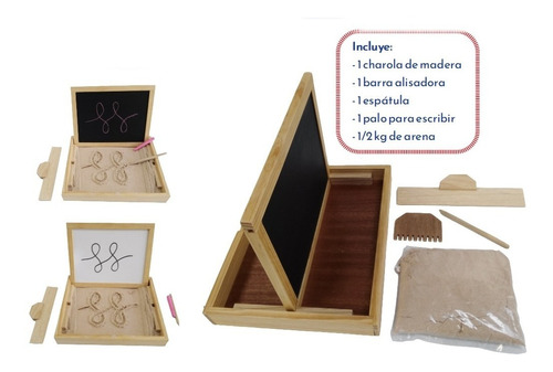 Imagen 1 de 9 de Ingeniacrea Bandeja Grafomotricidad Montesori Doble Pizarron