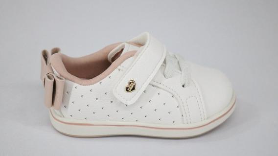 Tênis Bebê Klin Tiras Aderentes Laço Branco/rosa