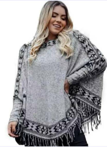 Poncho Plus Size Blusa De Frio Feminina G A Exg Tricô