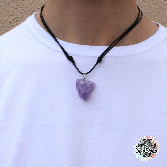 Colar Cordão Hippie Artesanato Pedra Bruta Ametista Real