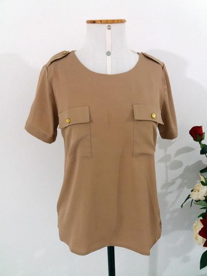 Blusa Camisa Feminina Caqui Bolsos Manga Curta Marrom Claro