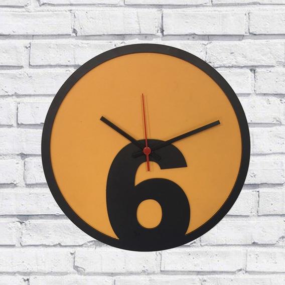 Relógio Parede Sala Madeira Básico 6 Cor Amarelo 30x30x2cm