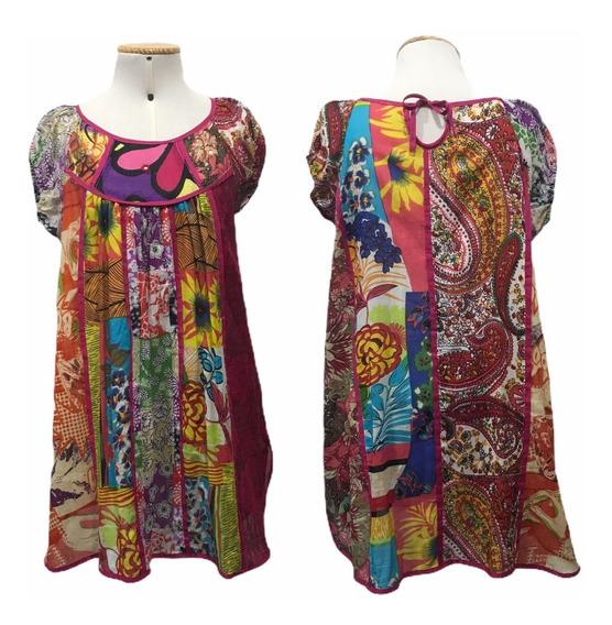Túnica/vestido/bata Moda Boho Patchwork Floral Tu010130