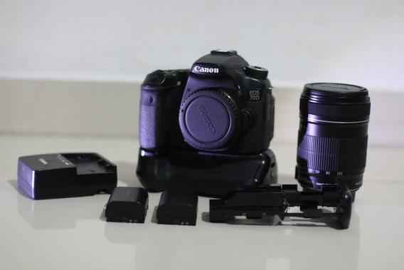 Câmera Canon Eos 70d+18-135+2 Baterias+grip