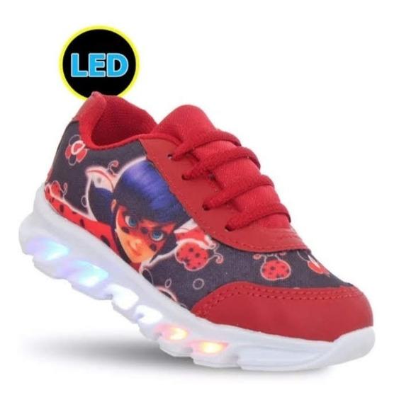 Tenis Personagem Ladybug Com 6 Luz Leds