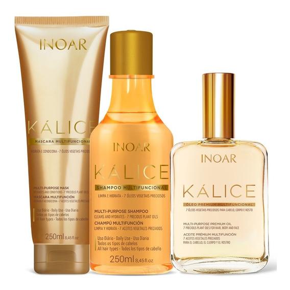 Kit Inoar Kálice Shampoo + Máscara + Óleo (3 Produtos)