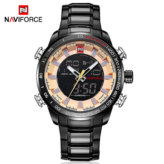 Reloj Hombre Naviforce Digital Acero Original Importado