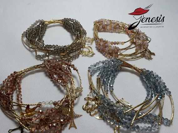 Semanarios (7 Pulseras) En Cristal Y Chapa De Oro Con Dijes