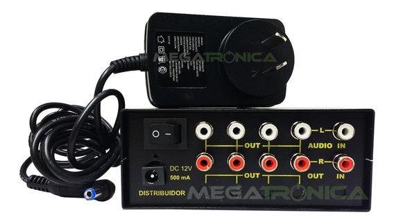 Splitter Distribuidor Audio Rca Stereo 1x4 Salidas C/fuente