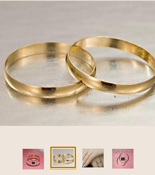 Aliança (1 Unid.) Ouro 18k Barata Anél Casamento Noivado