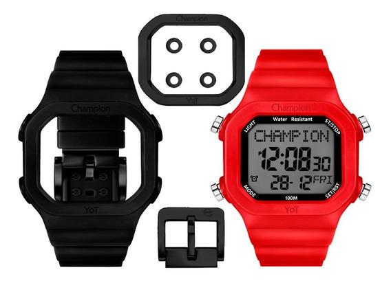 Relógio Champion Digital Yot Troca Pulseira 2 Cores Original