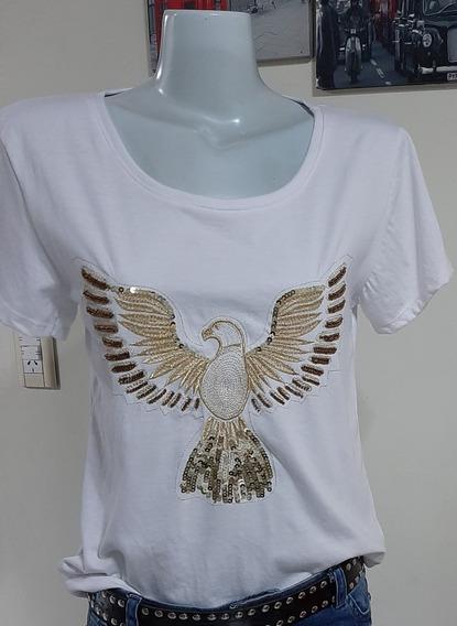 Remera Algodon Con Aplique Aguila Dorada Nueva Xl