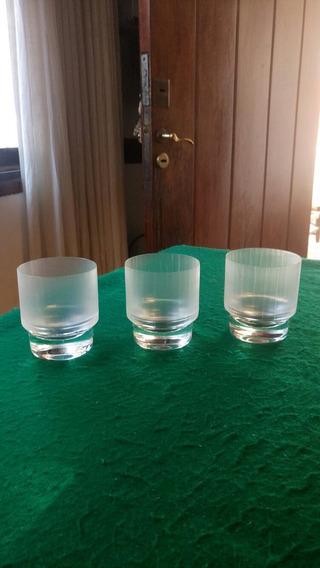 3 Vasos De Wisky, De Cristal Esmerilados