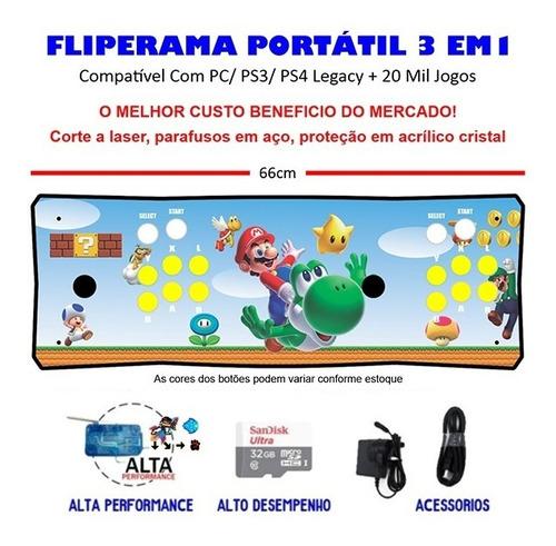 Imagem 1 de 3 de Fliperama Portátil 3 Em 1 - 20 Mil Jogos