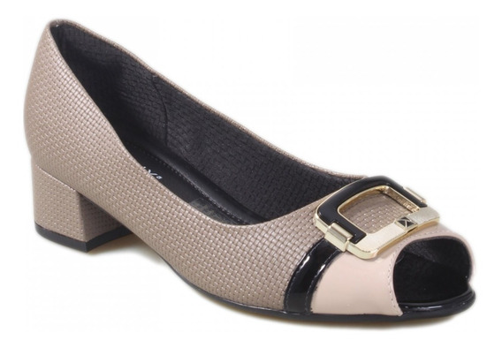 Piccadilly Sapato Peep Toe Trissê 114017 Taupe