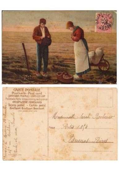 Postal Cuadro Campesinos De Bruselas A Buenos Aires 1905