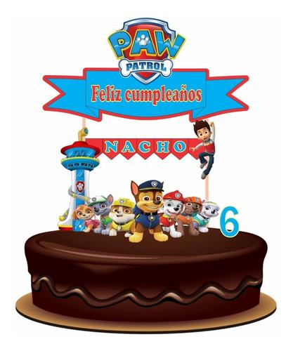 Imagen 1 de 6 de Cake Topper Patrulla Canina Adorno Para Tortas