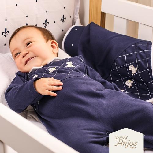 Imagem 1 de 6 de Saída Maternidade Menino Anjos Baby Dogs 2 Peças