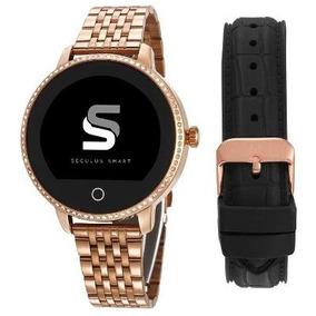 Relógio Seculus Smartwatch Pulseira Rosê/pedras 79002lpsvra1