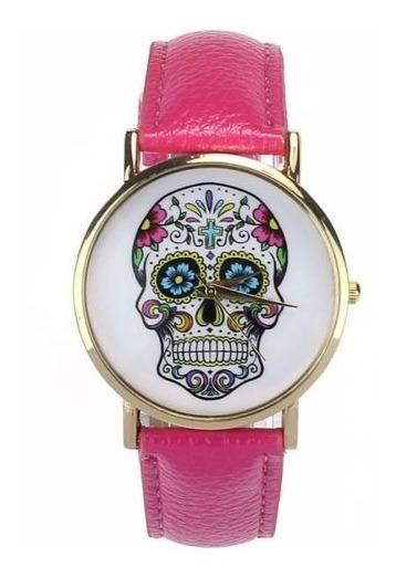 Reloj Pulsera Mujeres Hombres Punk Calavera Analógico