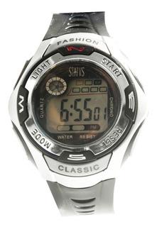 Reloj Digital Status Con Cronómetro, Luz Y Alarma Mod. Md02