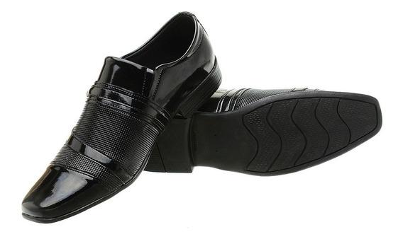 Sapato Social Masculino Preto Verniz