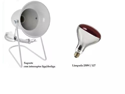 Imagem 1 de 9 de Kit Fisioterapia Suporte Infra + Lampada Ilumatel 250w 127v