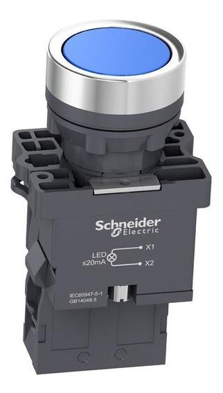 Botão De Impulsão Iluminado 22mm 1na Xa2ew36m1 Azul Schneider