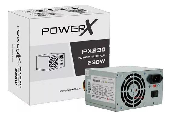 Fonte Alimentação Atx Powerx Px230 230w Real 2 Peças